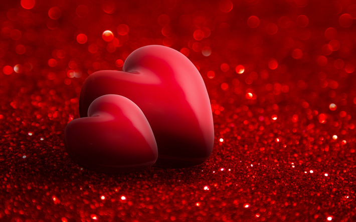 Scarica Sfondi 3d Rosso Cuore Rosso Brillante Sfondo Amore
