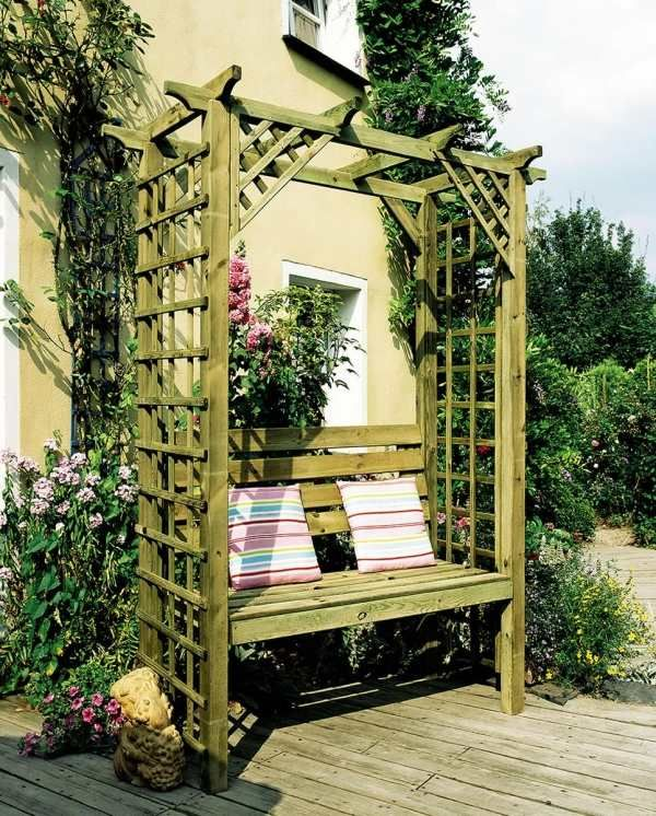 50 Coole Garten Ideen Fur Gartenbank Selber Bauen In 2020 Backyard Patio Furniture Garden Arbour Seat Diy Pergola