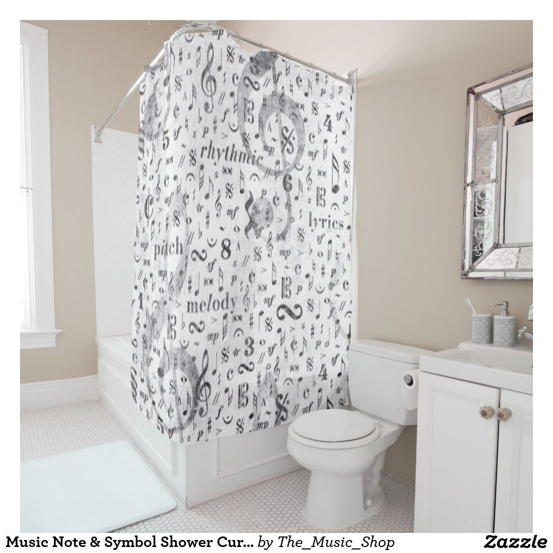Music Note Symbol Shower Curtain Zazzle Com Music Gifts