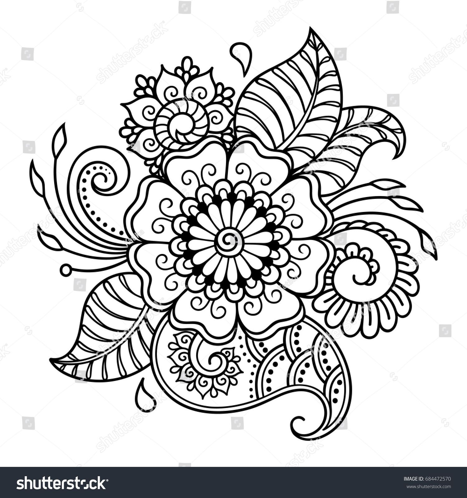 Henna tattoo flower template. Mehndi style. Set of