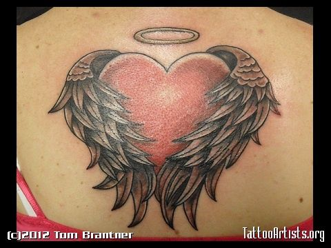 heart with angel wings tattoo angel heart tattoos pinterest rh pinterest com angel wings with halo and heart tattoo angel wings shaped heart tattoos