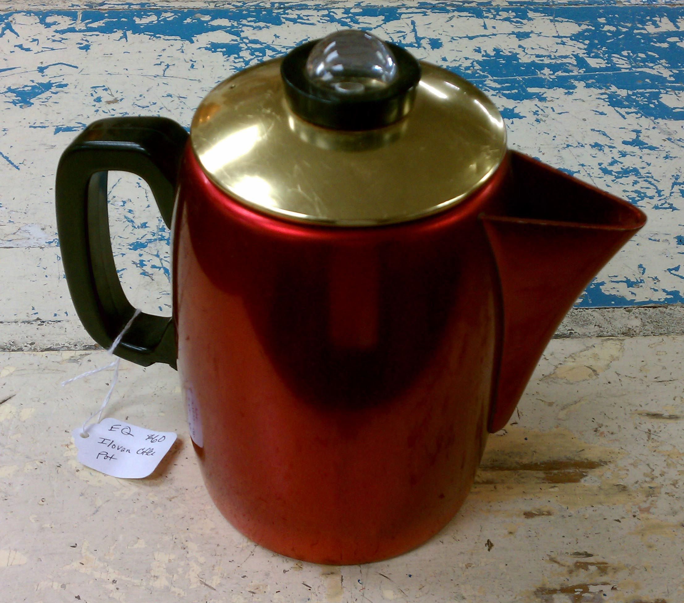 mod red and old vintage aluminum percolator