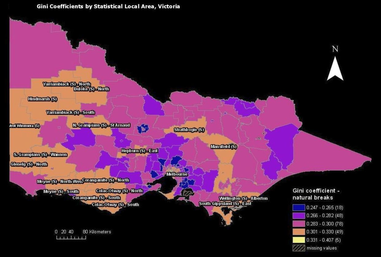 Gini Coefficients Representing Income Or Wealth Distribution By Statistical Local Area In Victoria Local Area Gini Coefficient Alberton