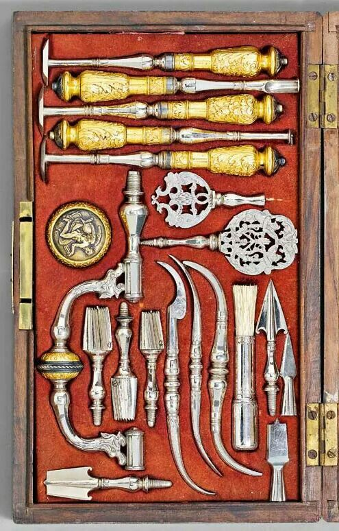 Surgical instruments and trepanning set, 19th century, France