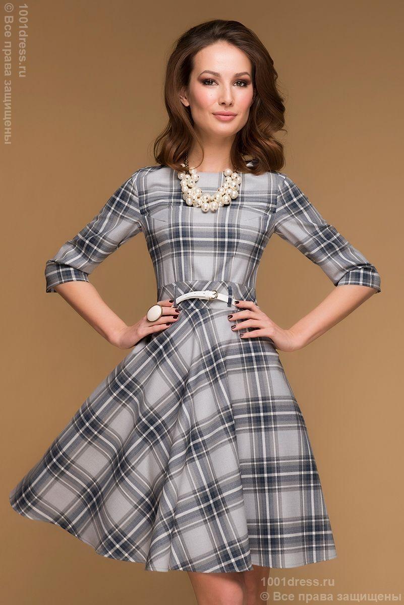 85dcab07b30 Купить серое клетчатое платье длины мини с рукавами 3 4 и пышной юбкой в  интернет-магазине 1001 DRESS