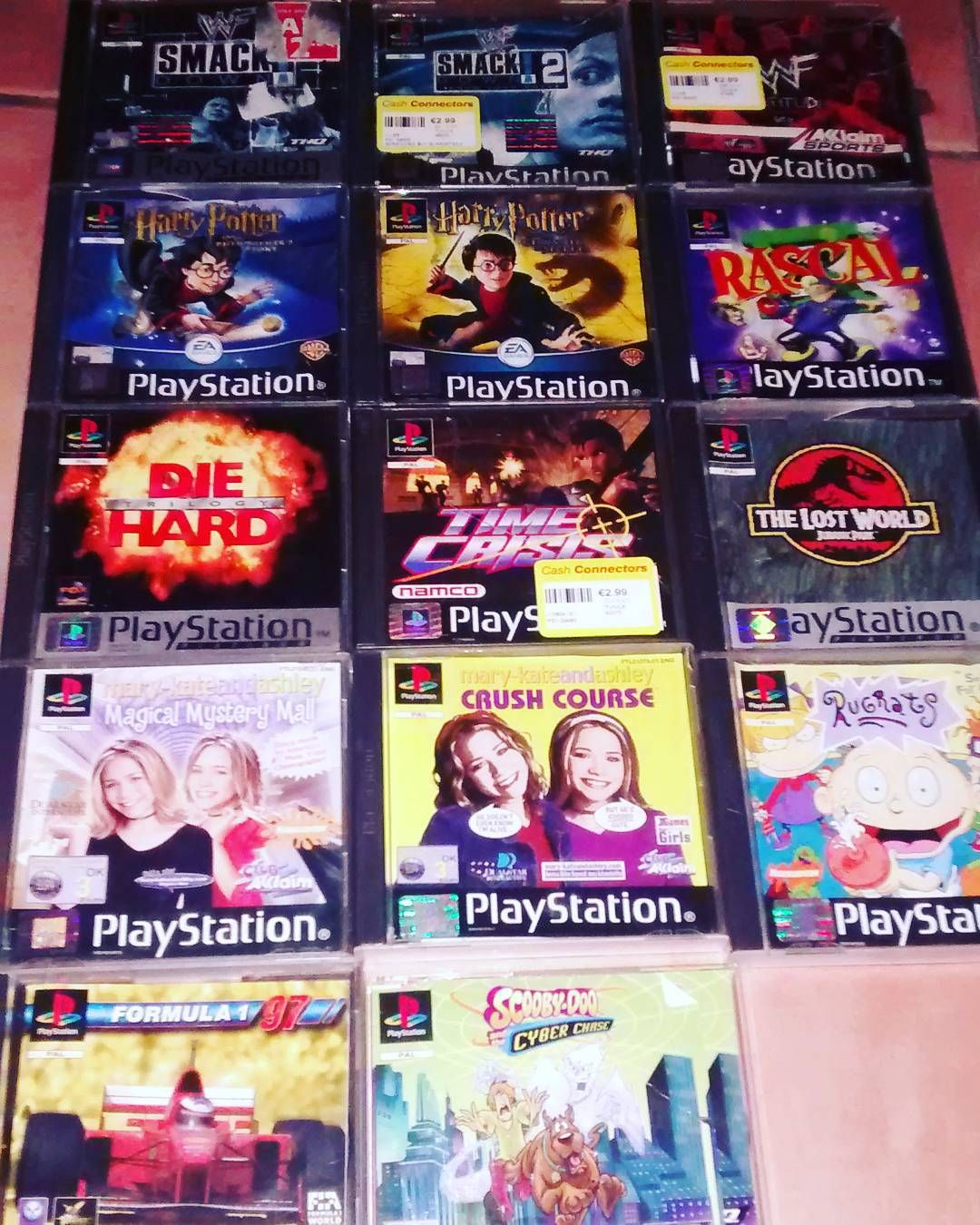 On instagram by bulletvonawesome #playstation1 #microhobbit (o) http://ift.tt/1T61m8w collection. Most came from the girlfriend when she moved in. The cooler ones I scrounged up in retro shops and charity shops etc.  #ps1  #gamerpics    #jurassicpark #wwe #mary-kateandashley
