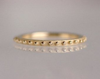 Delicate wedding band, stacking ring, 14k yellow gold, granulation - Bubble No.2