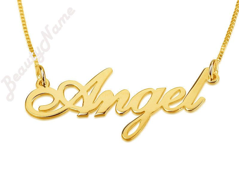 24k Gold Plated Nameplate Necklace Personalized Chain Custom Made Any Name Gold Name Necklace Name Necklace Custom Name Necklace