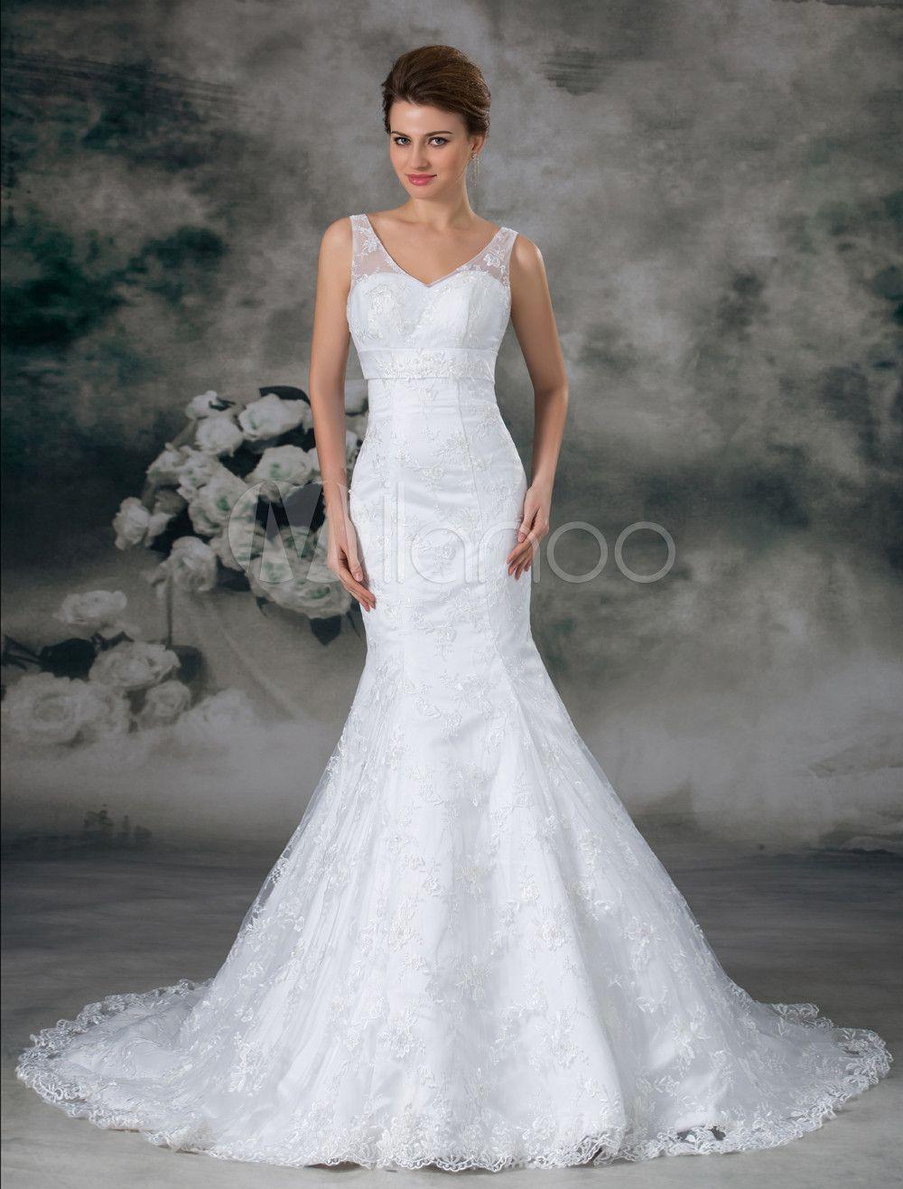 Long lace wedding dress  Milanoo Ltd Wedding Dresses White Mermaid OffTheShoulder
