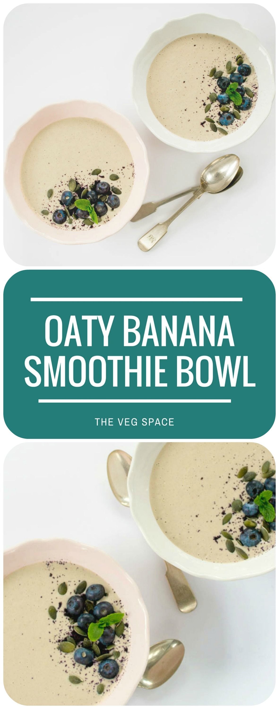 This pretty-as-a-picture smoothie bowl has all the benefits of porridge, but is as quick and easy to make as a smoothie. Keeps hunger locked up till lunch! Vegan and vegetarian.