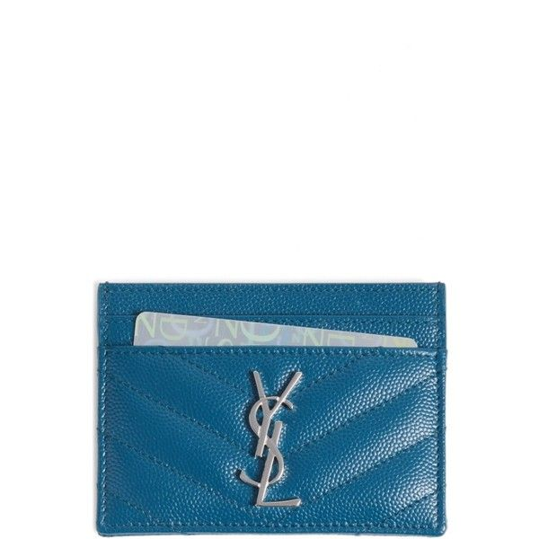 2a75aa7e437 Women's Saint Laurent 'Monogram' Credit Card Case ($250) ❤ liked on  Polyvore featuring bags, wallets, peacock green, yves saint laurent,  monogrammed bags, ...