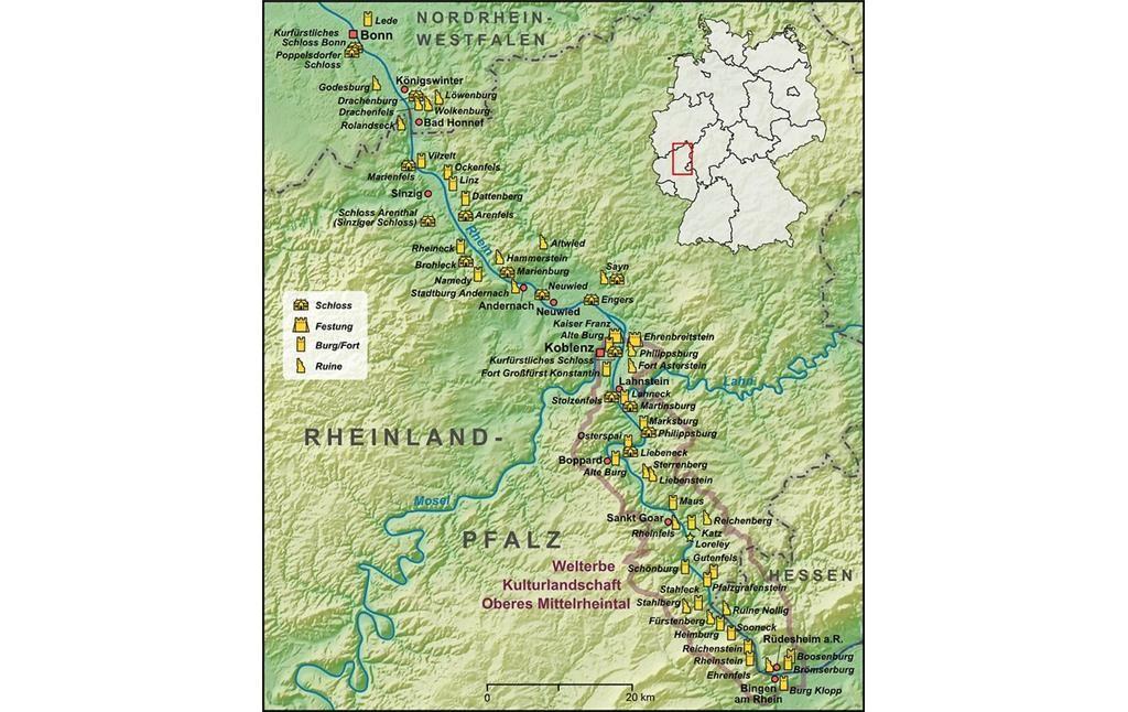 Karte Der Region Mittelrhein Und Der Welterbestatte Kulturlandschaft Oberes Mittelrheintal 2009 Dargestellt Sind Burgen S Kulturlandschaft Burg Mittelrhein