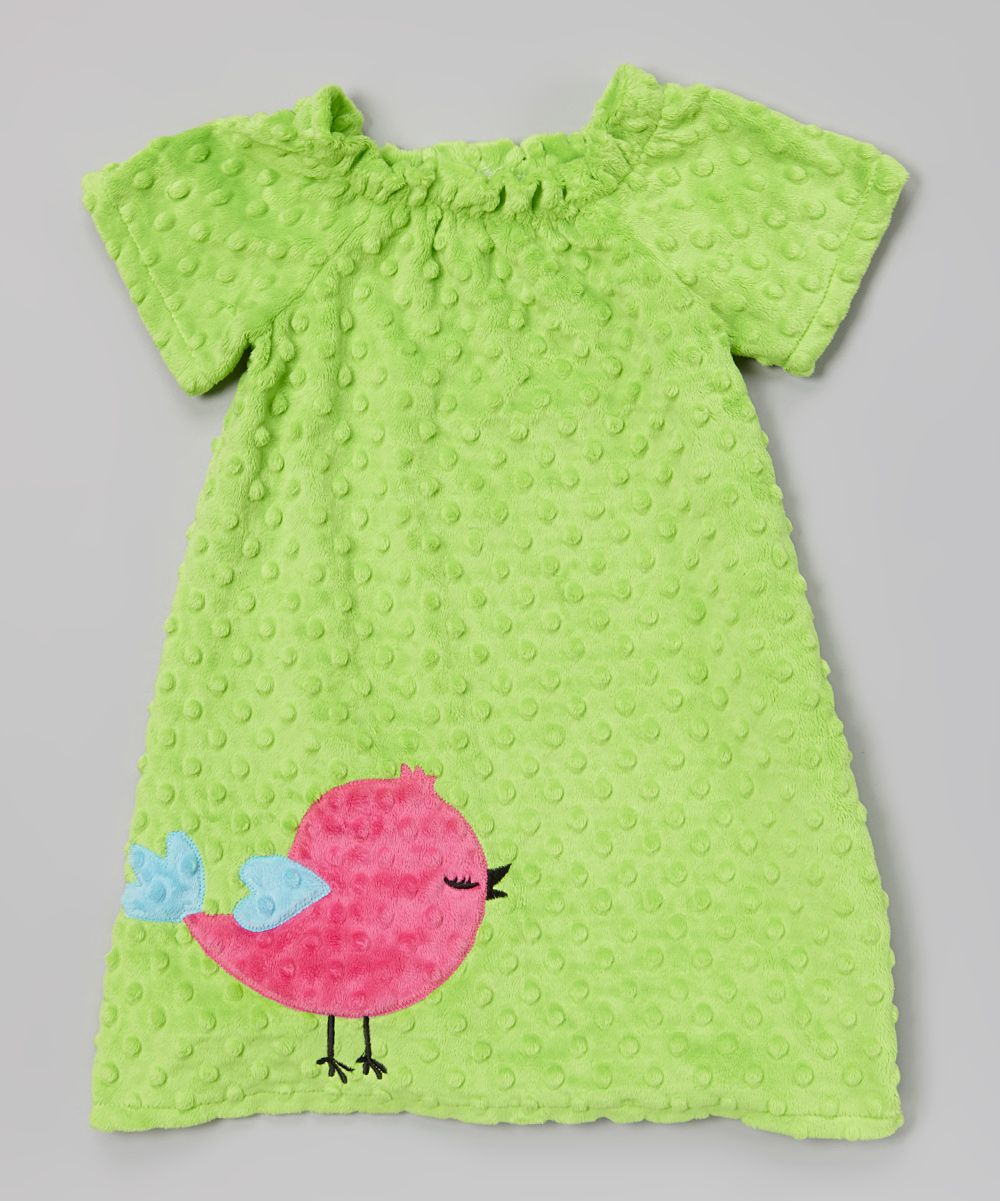 Lime Green Bird Minky Dress --I wonder if Mom could make this?