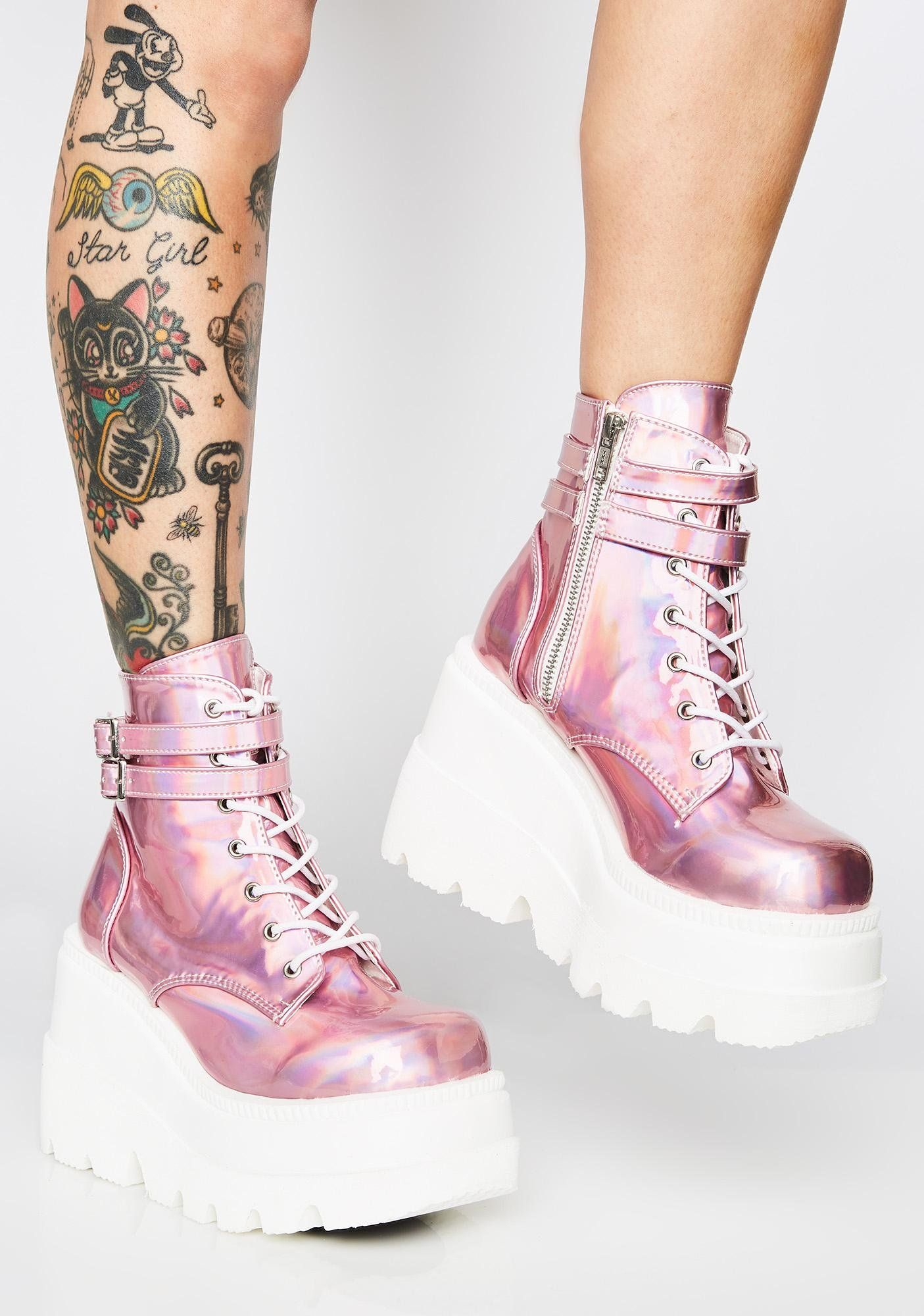 Holographic boots, Goth platform boots
