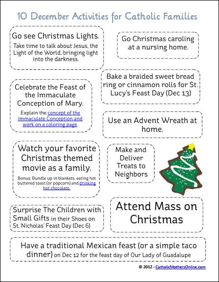 10 Activities to do in December for Catholic Families {Free Printable} | CatholicMothersOnline.com