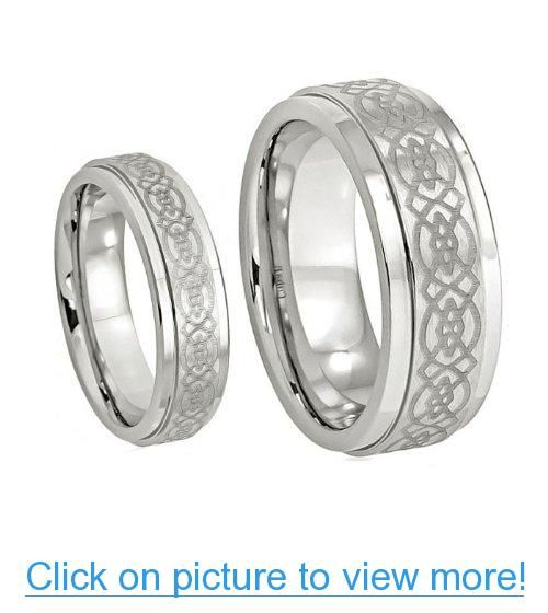 His Her S 8mm 6mm Cobalt Wedding Band Ring Set W Laser Etched Celtic Design Available Sizes 6 13 Wedding Ring Bands Celtic Wedding Rings Cobalt Wedding Band