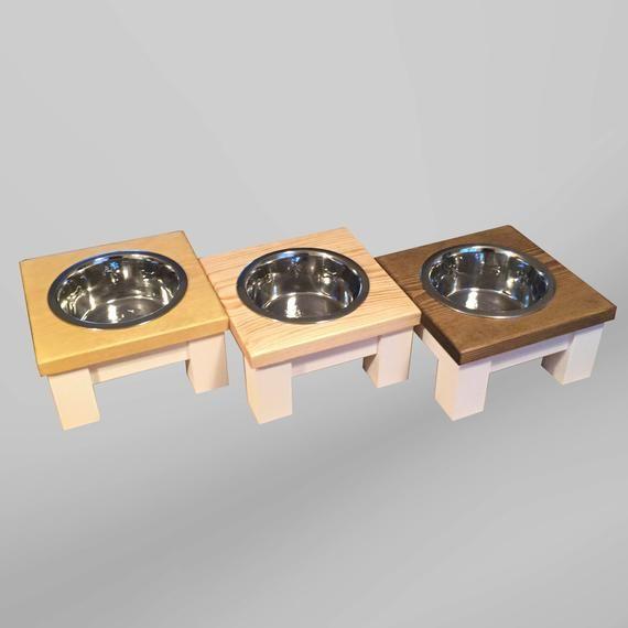 Medium Single Dog Bowl Table, Raised Dog Bowl, Raised