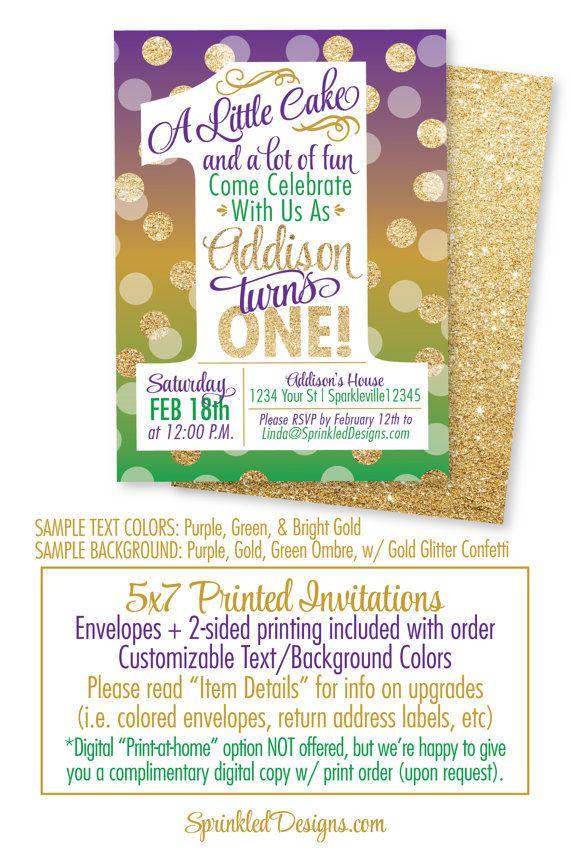 Mardi Gras 1st Birthday Invitation - Purple Green Gold Glitter Mardi ...