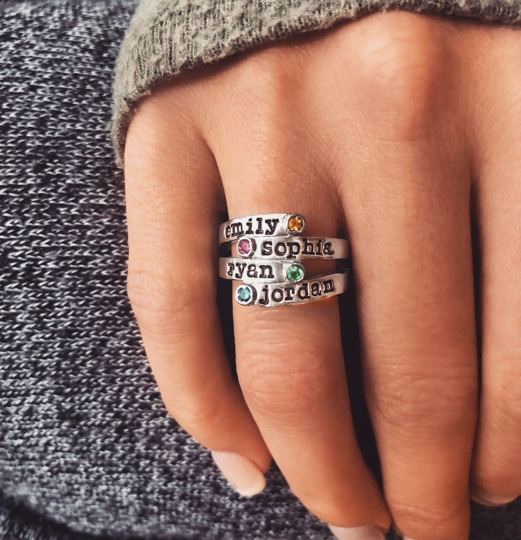 Personalized Overlapping Four Stone Ring - SR160-SSCZWG