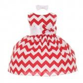 ee928bfa8 Baby Girls Red Chevron Stripe Headband Special Occasion Dress 3-24M ...