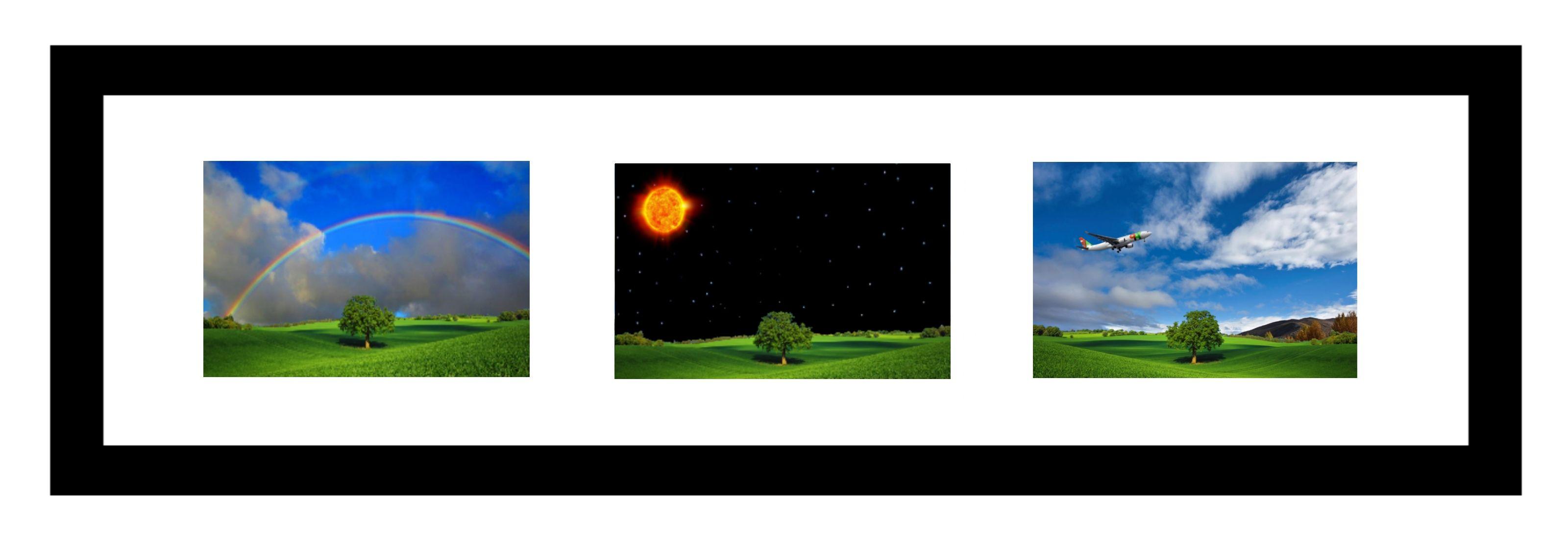 """Esta imagem tem um tamanho original de 3200x1100 pixels Usando a ferramenta rectangle (tamanho 35) foi produzida uma moldura retangular com a cor primária """"preta"""" ativa. No interior da moldura foram adicionadas três imagens obtidas após transformação da imagem original """"landscape"""" utilizando a grande parte dos recursos, da janela de ferramentas, janela de camadas, janela de cores e janela de histórico.  Foram ainda utilizadas algumas opções da barra de menus."""