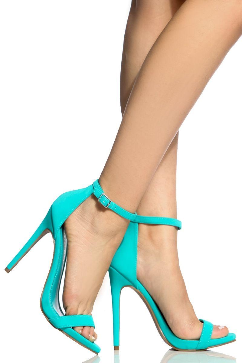 b425b6112262 Turquoise Faux Nubuck Ankle Strap Single Sole Heels   Cicihot Heel Shoes  online store sales Stiletto Heel Shoes