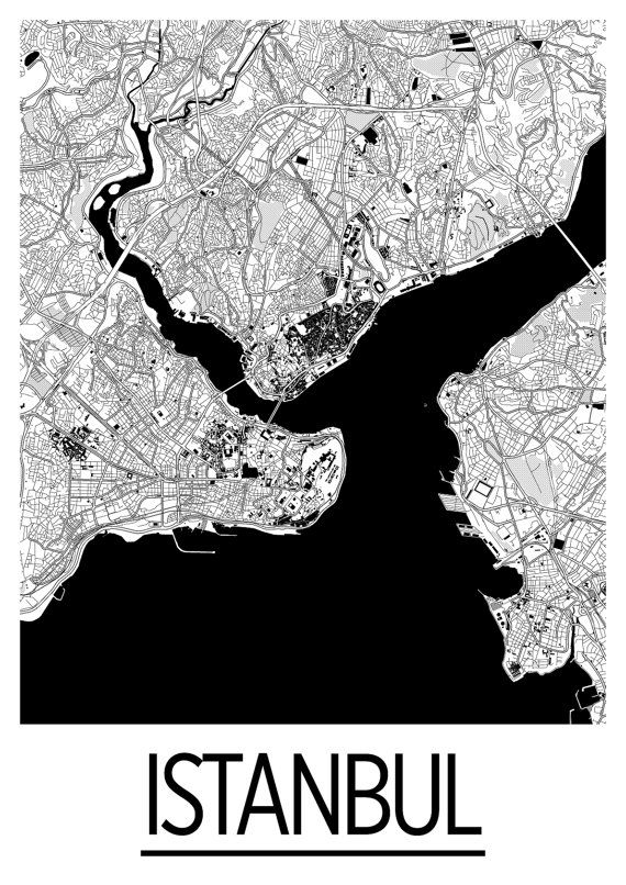 Istanbul Map Poster - turkey Map Print - Art Deco Series   İstanbul ...