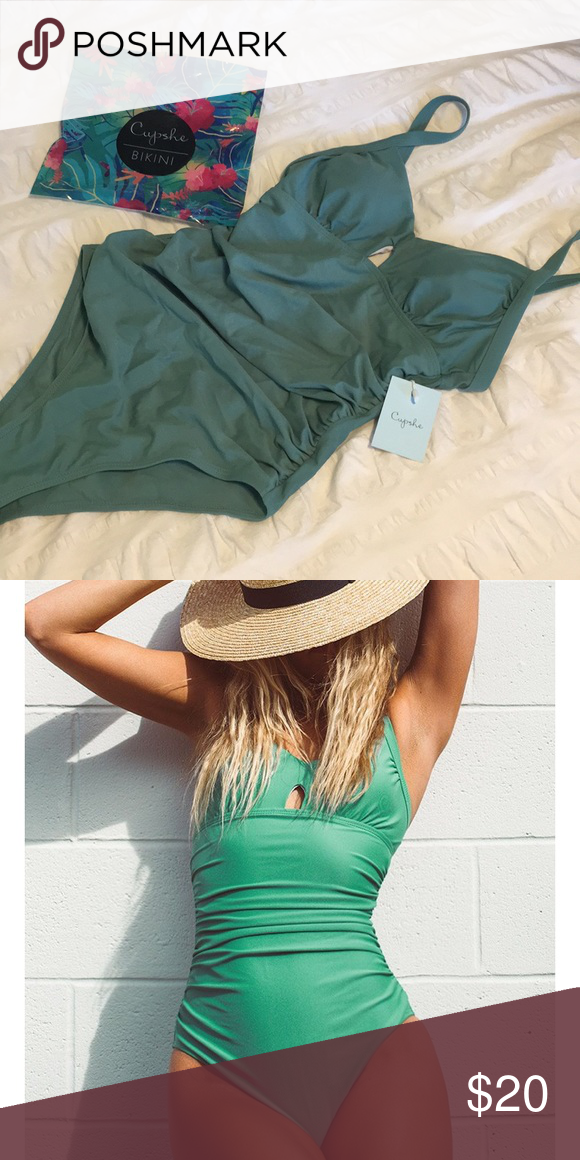 b783047cbb6f4 Cupshe Green Grass Solid One-piece Swimsuit Brand new with tags Cupshe one  piece. Super cute but was too big for me! Cupshe Swim One Pieces