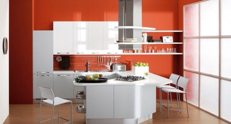 Peinture Murale Cuisine Orange Et Armoires Blanches   Idées De