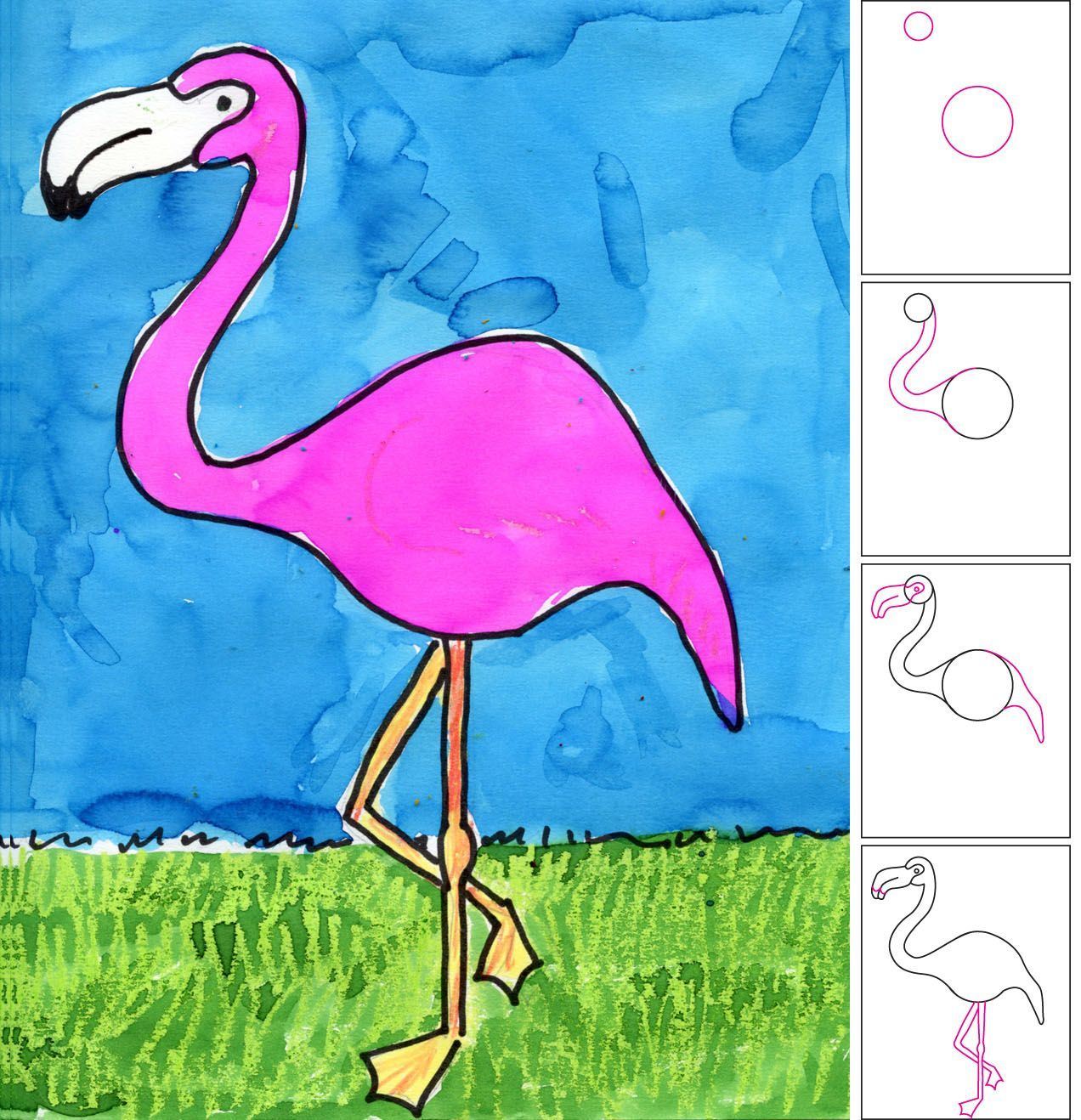 Art Projects For Kids How To Draw A Flamingo