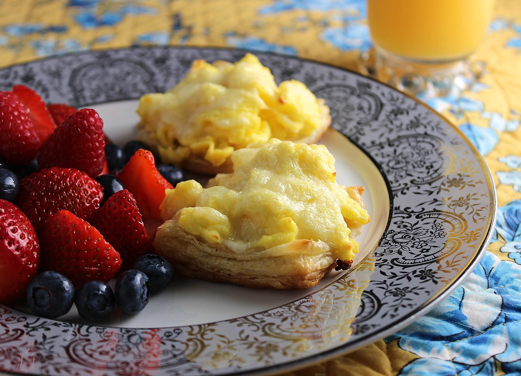 Make Ahead Scrambled Eggs in Puff Pastry is a delicious easy recipe with fluffy eggs in crisp pastry shells.