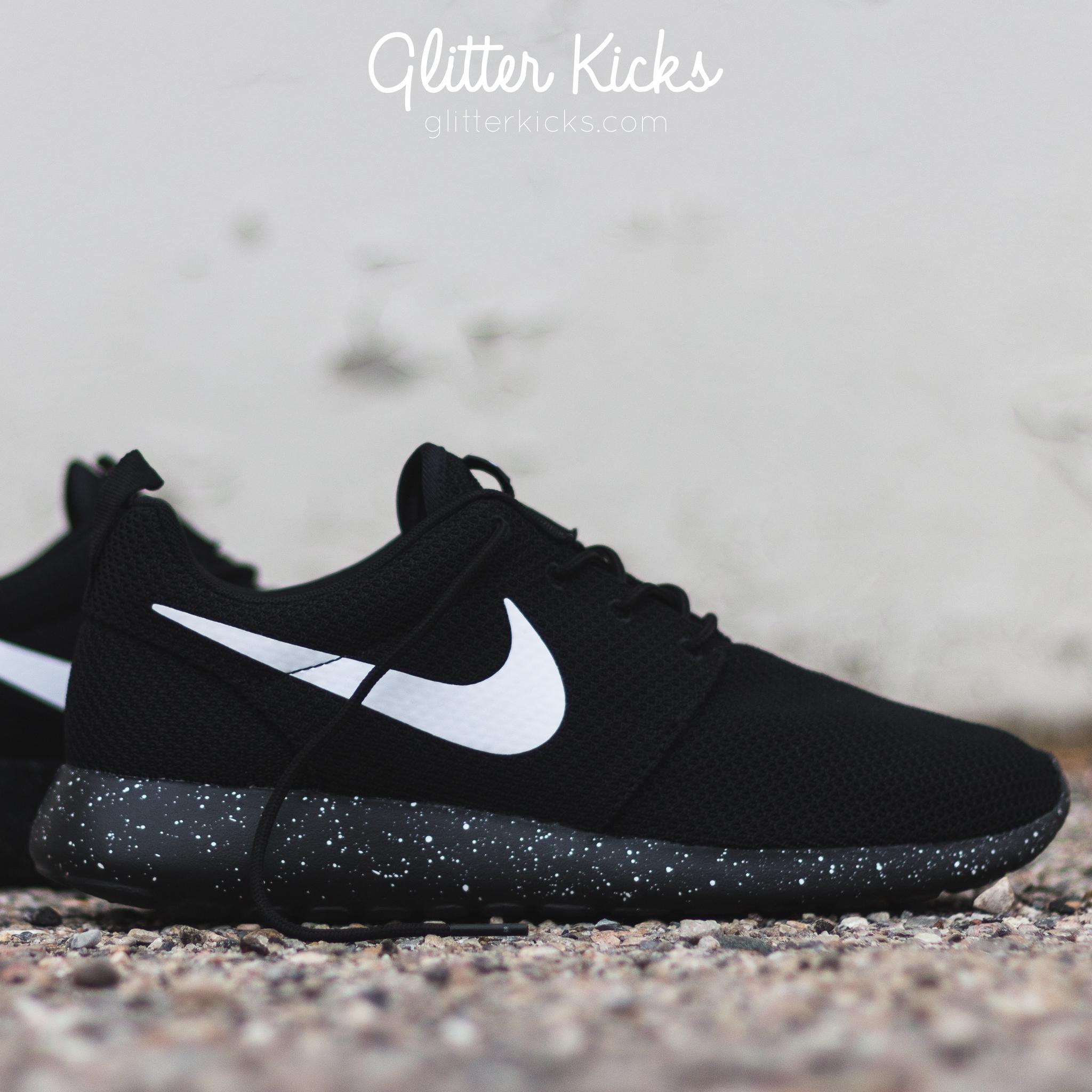 ... Nike Roshe One Customized by Glitter Kicks - Oreo Black White Paint  Speckle ... 9ae91efca
