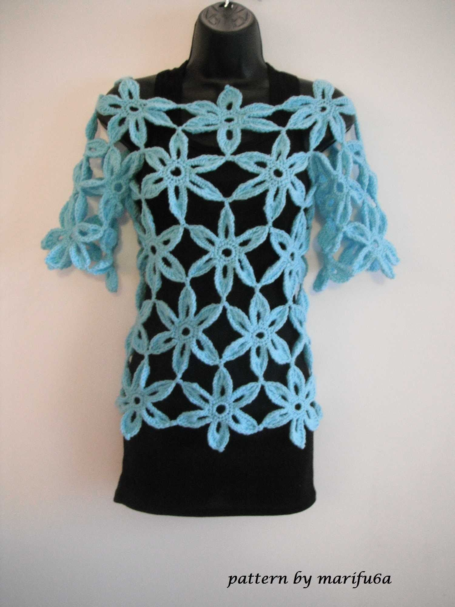 how to crochet flower tunic top sweater free pattern tutorial | DIY ...