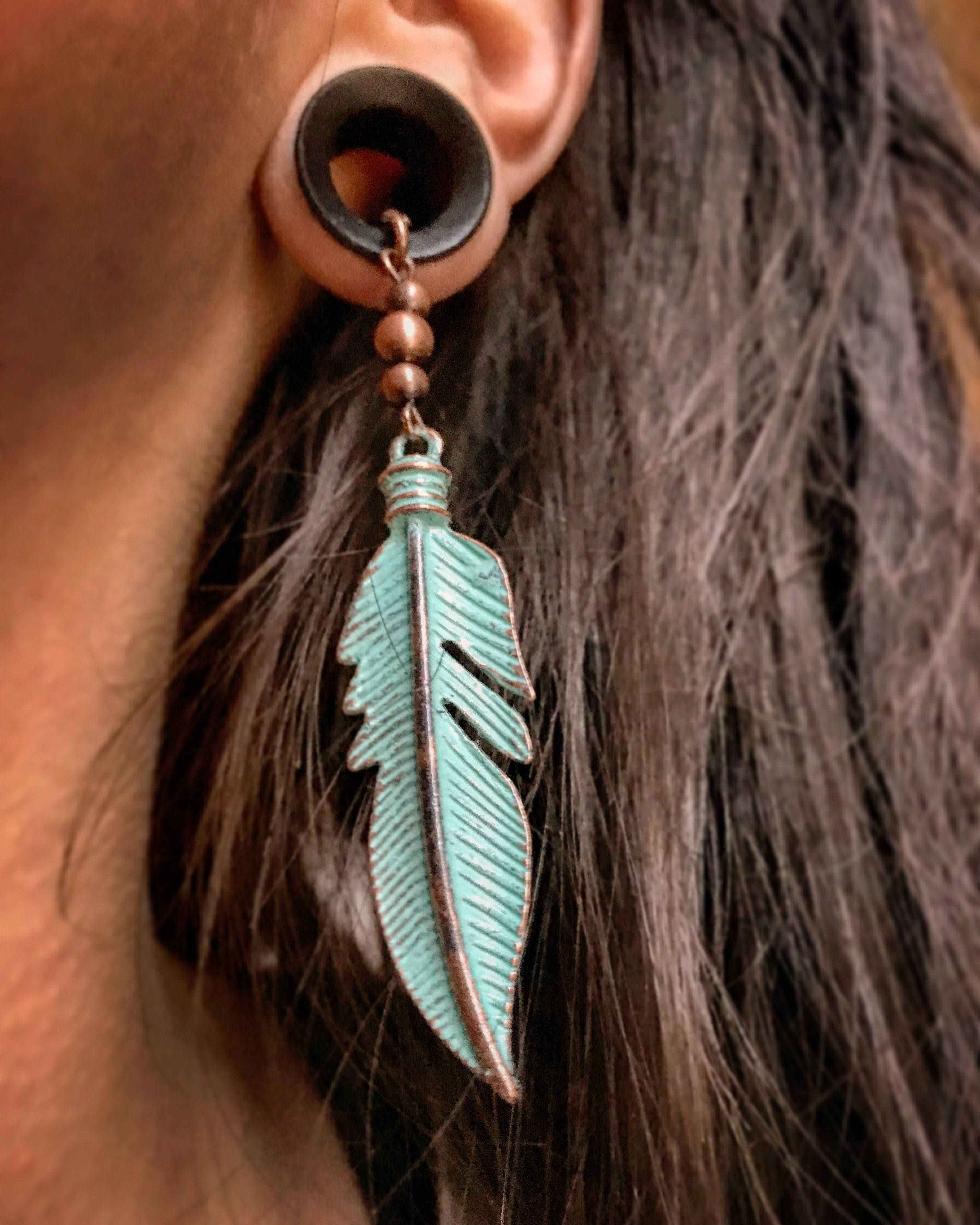 1 Pair Of Turquoise Feather Dangles On Wooden Ebony Tunnels Our Commitment To Giving Back Buy One Plant One As Plugs Earrings Gauged Earrings Gages For Ears