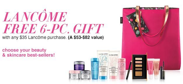 6c12bd4475d A free 7-piece Lancome gift at Saks.com - yours when you spend $100 or  more. Enter promo code LNCME12SF at checkout