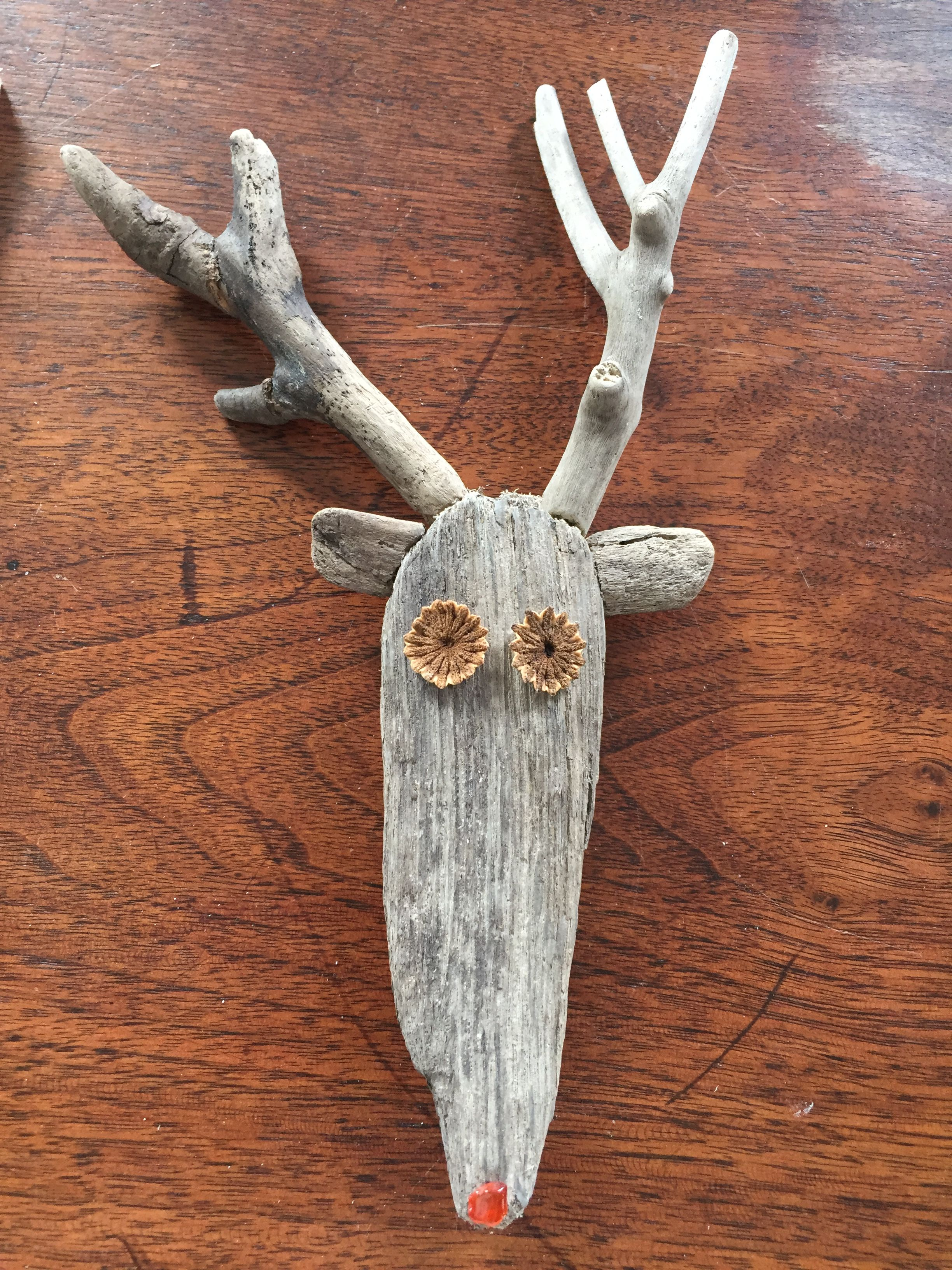 My Version Of Reindeer, With Red Beach Glass & Poppy