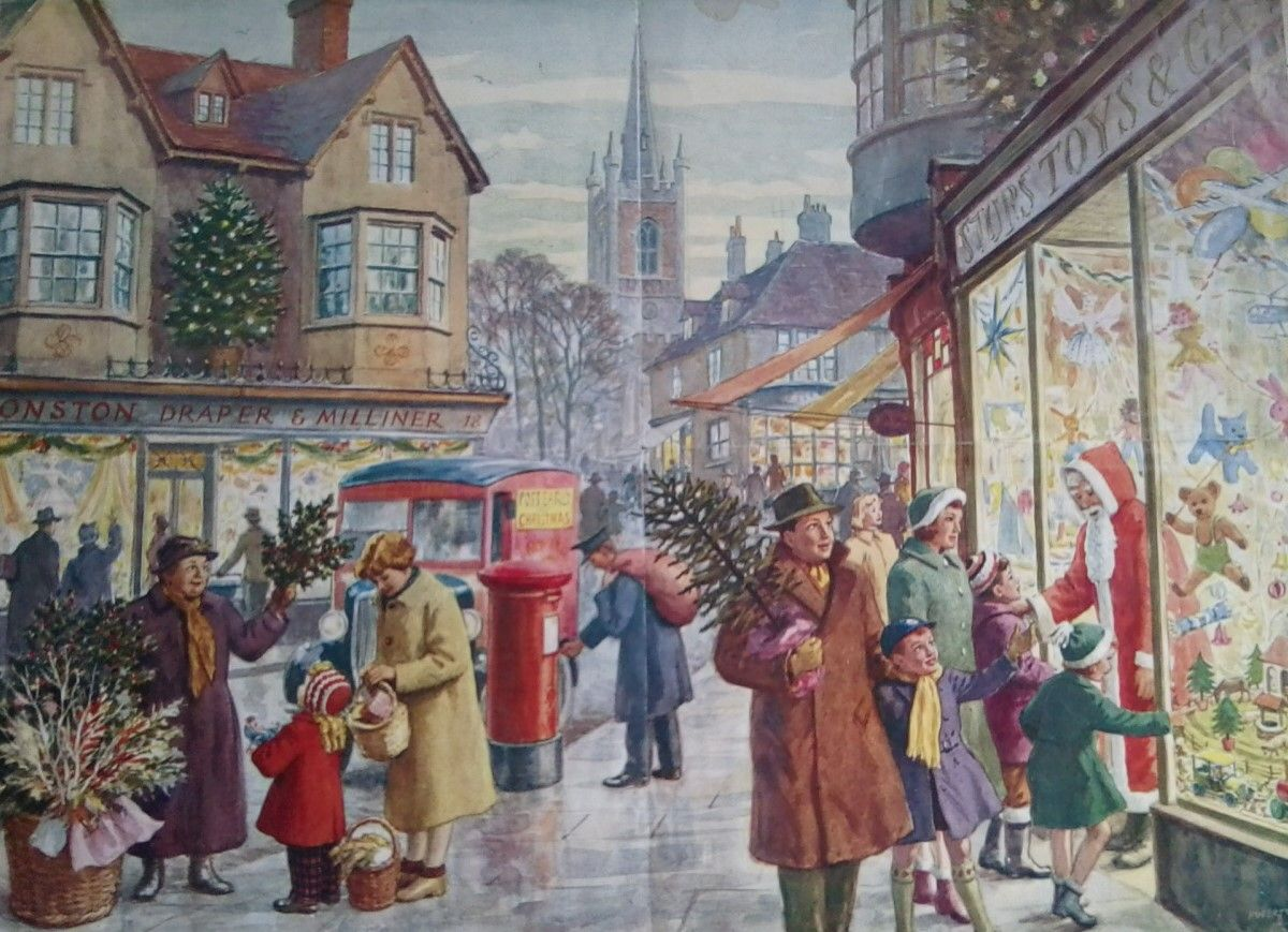 Art Stores In Hamilton 1950s Christmas Shopping Old Educational Poster