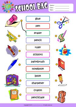 Schoolbag Esl Printable Worksheets For Kids English