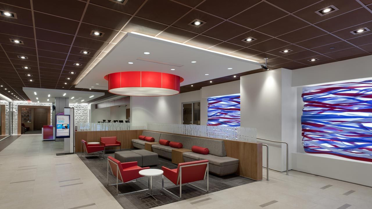 Bernhardt Design S B 3 Chair At Bank Of America Flagship By Little Diversified Archi Commercial Interior Design Healthcare Interior Design Commercial Interiors