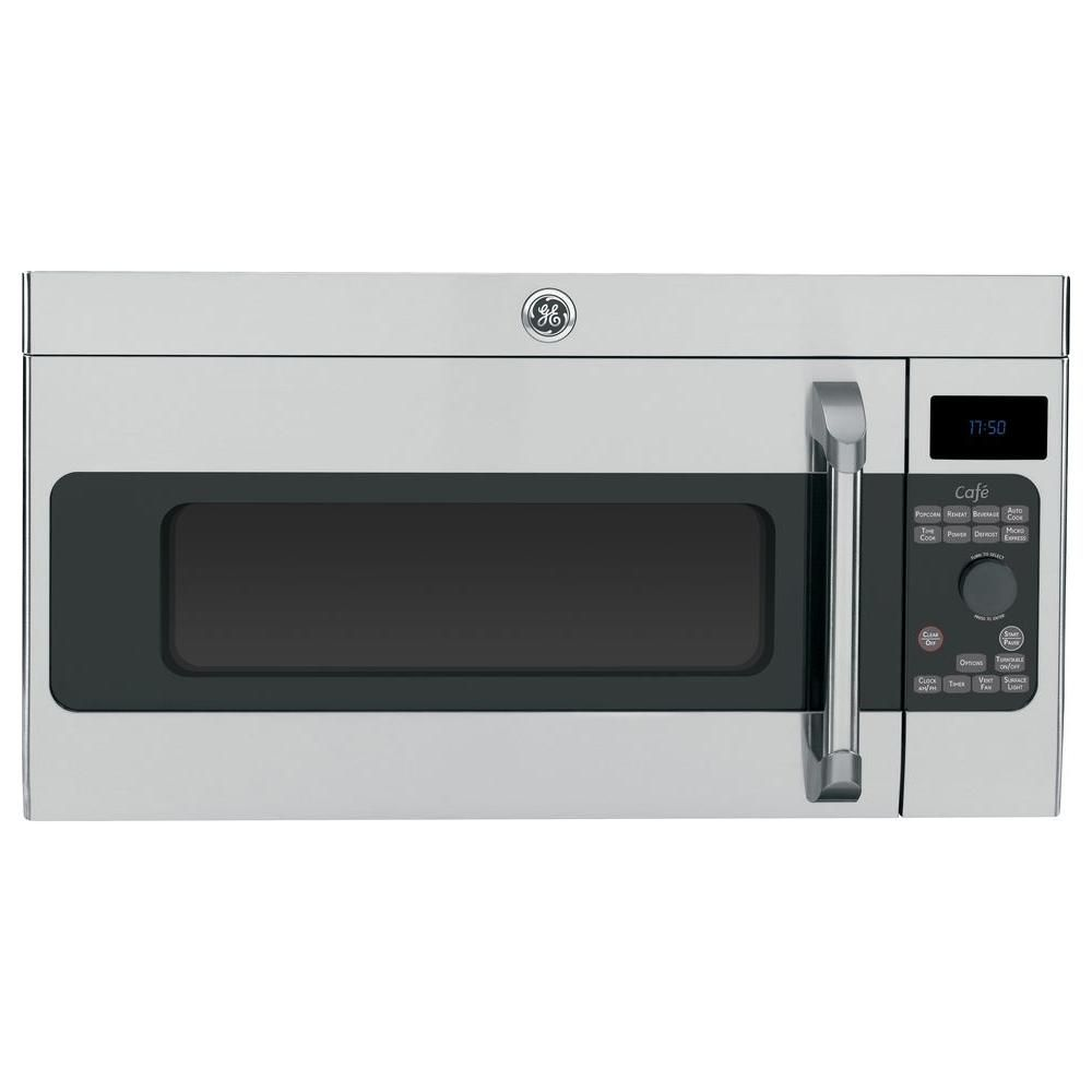Ge Cafe 1 7 Cu Ft Over The Range Microwave In Stainless Steel Silver With Sen Over The Range Microwaves Stainless Steel Microwave Microwave Convection Oven