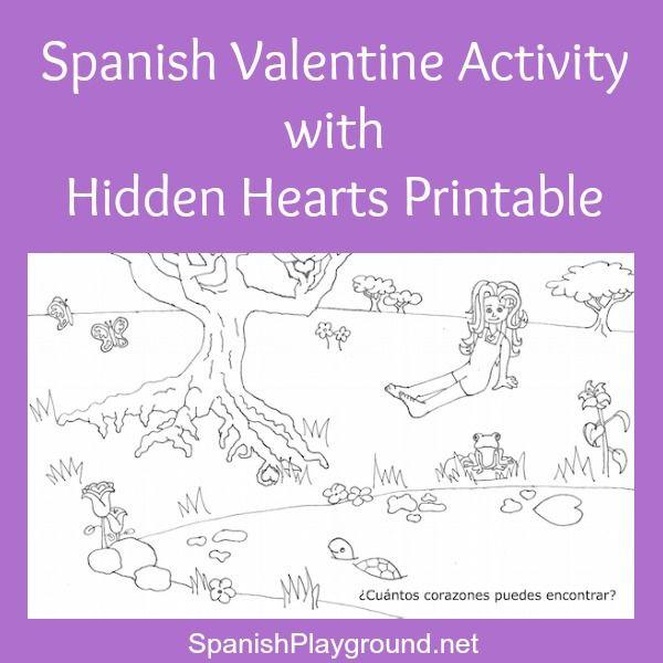 spanish valentine activity with hidden hearts printable spanish for kids valentine. Black Bedroom Furniture Sets. Home Design Ideas