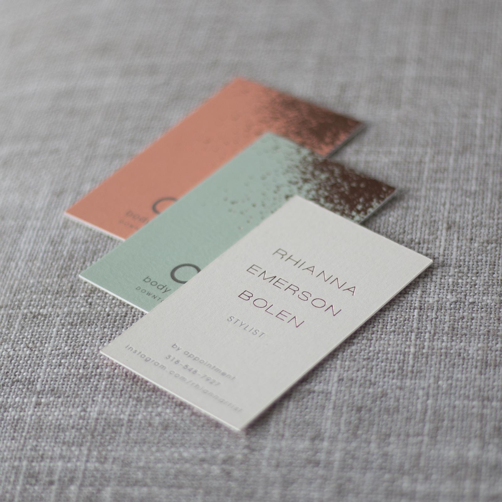 letterpress foil stamped business card design foil stamping