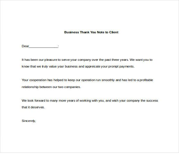 Business Thank You Note Free Word Excel Pdf Format Download