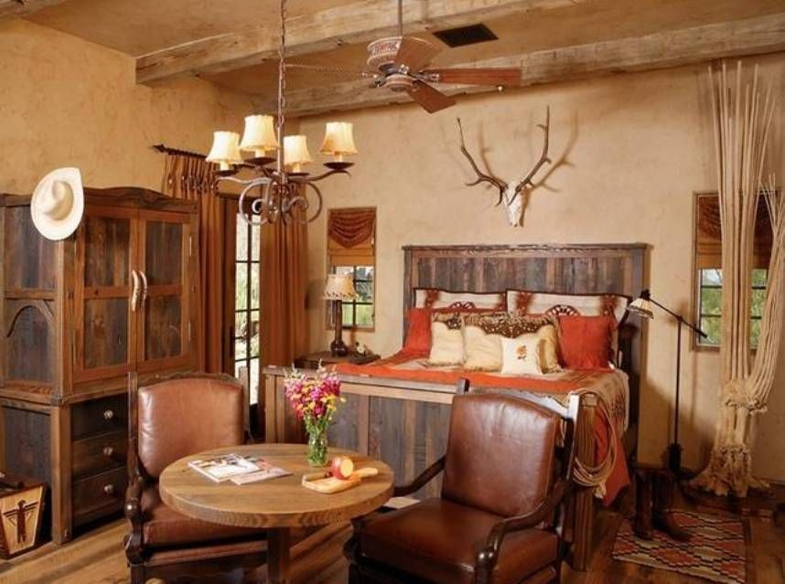 Home Design And Decor , Charming Western Home Decor Ideas : Bedroom With Western  Home Decor Ideas Antler Skull