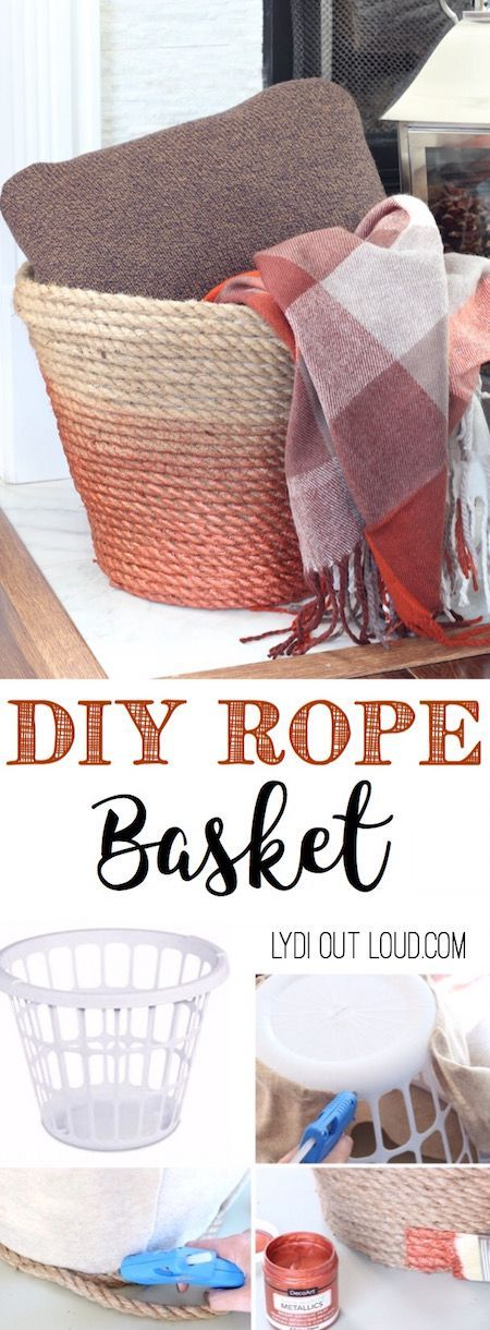 Diy metallic rope throw basket tutorial cesto de plstico y feos this beautiful diy metallic ombre basket is made out of a dollar store laundry solutioingenieria Images