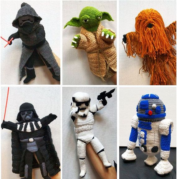 Hand Puppet PDF Patterns, Yoda, R2D2, Darth Vader, Chewbacca, Kylo ...