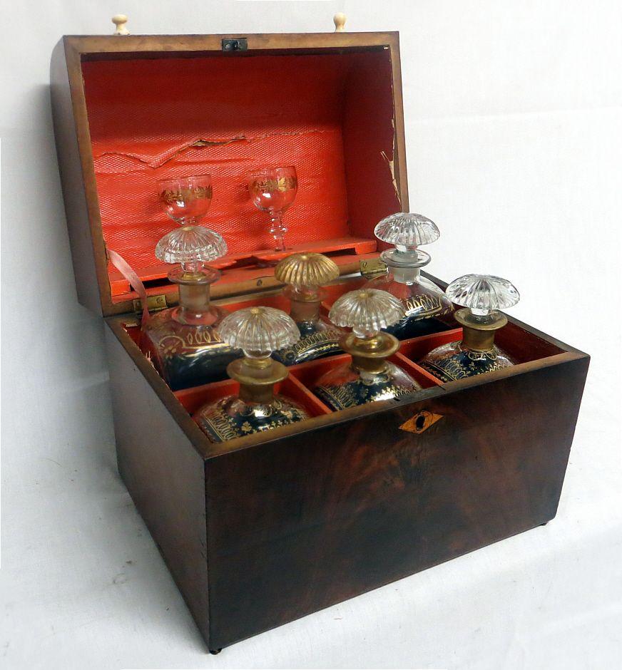 Decanter Box Set English Ca 1740 1760s Sea Captain Liquor Bottles And A Pair Of Cordial Glasses Bottles Are Antique Boxes Antique Bottle Campaign Furniture