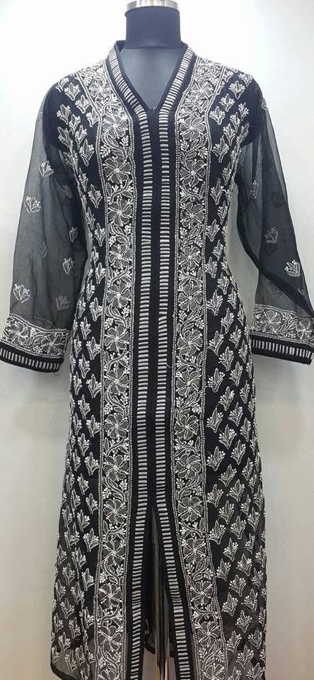 4e970de1ac Lucknowi Chikan Hand Embroidered Kurti Black Faux Georgette $40.62 ...