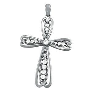 1/4 ct tw Diamond Cross Pendant with F Color VS Clarity Diamonds