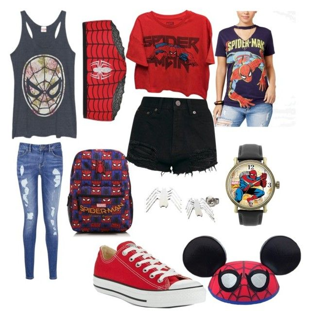 """""""spiderman"""" by sheafleming195 ❤ liked on Polyvore featuring Disney, Marvel, George, Converse and Tommy Hilfiger"""